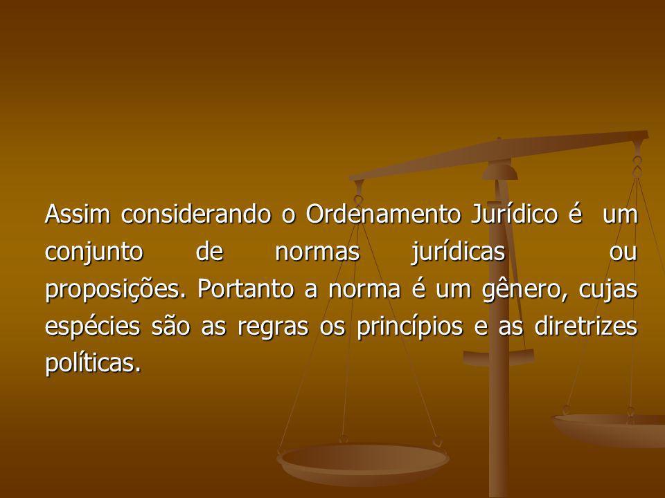 Assim considerando o Ordenamento Jurídico é um conjunto de normas jurídicas ou proposições.
