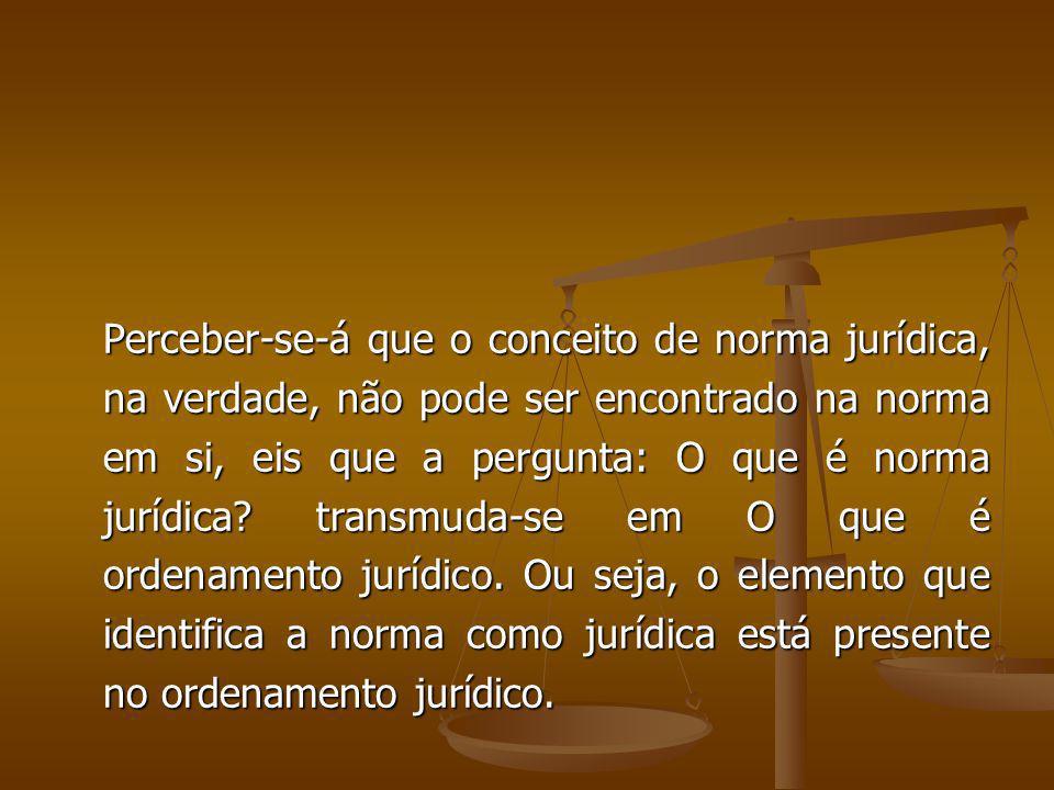 Perceber-se-á que o conceito de norma jurídica, na verdade, não pode ser encontrado na norma em si, eis que a pergunta: O que é norma jurídica.