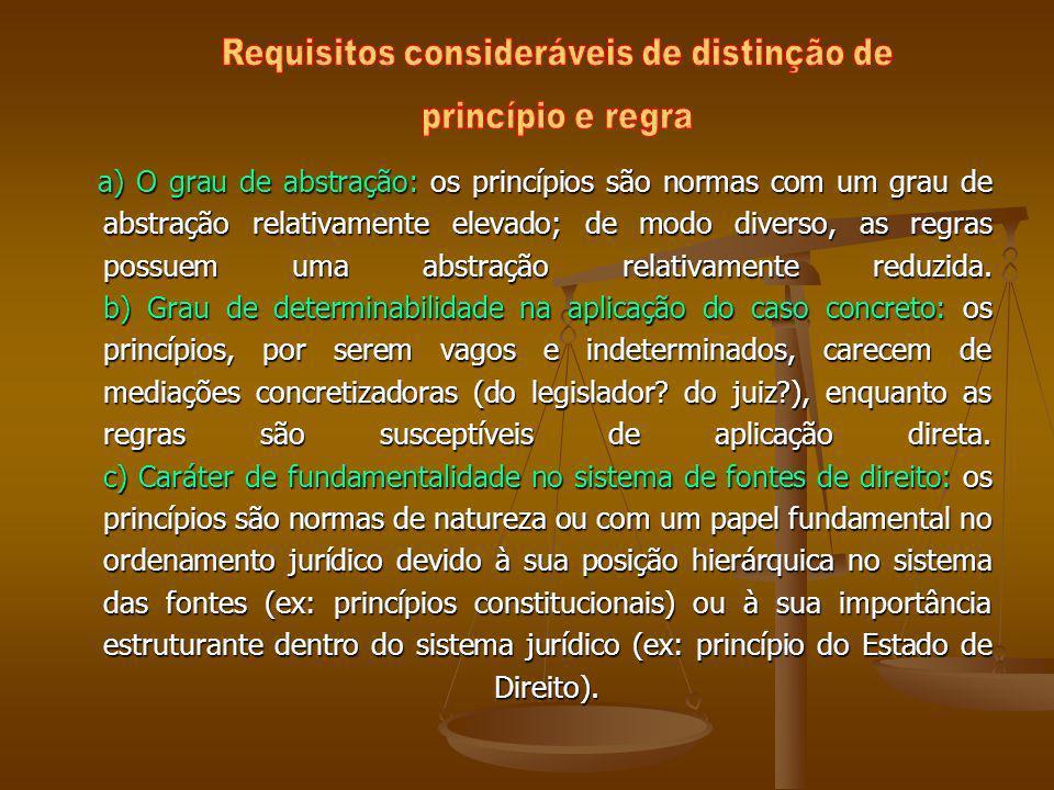 Requisitos consideráveis de distinção de