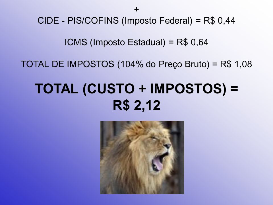 + CIDE - PIS/COFINS (Imposto Federal) = R$ 0,44 ICMS (Imposto Estadual) = R$ 0,64 TOTAL DE IMPOSTOS (104% do Preço Bruto) = R$ 1,08 TOTAL (CUSTO + IMPOSTOS) = R$ 2,12