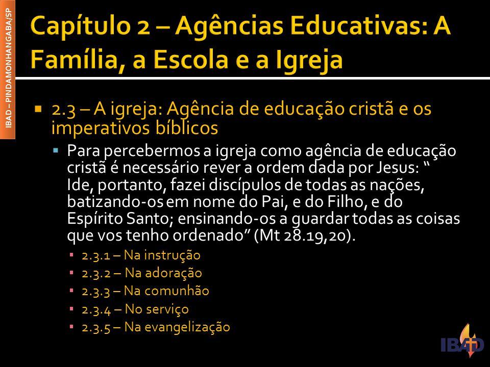 Capítulo 2 – Agências Educativas: A Família, a Escola e a Igreja