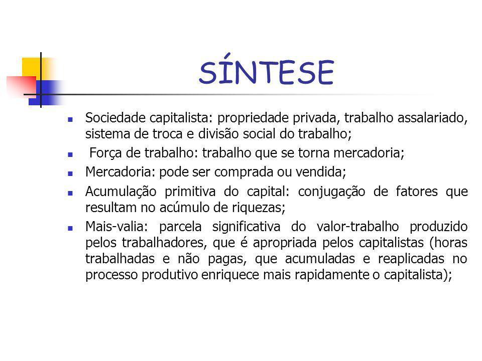 SÍNTESE Sociedade capitalista: propriedade privada, trabalho assalariado, sistema de troca e divisão social do trabalho;