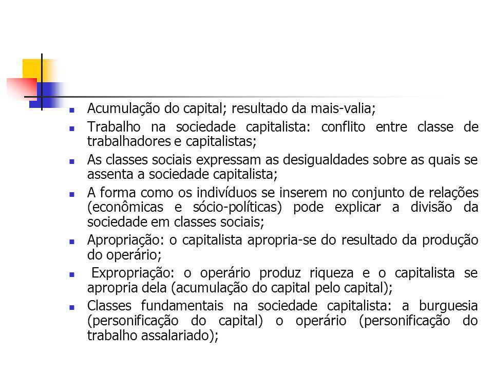 Acumulação do capital; resultado da mais-valia;