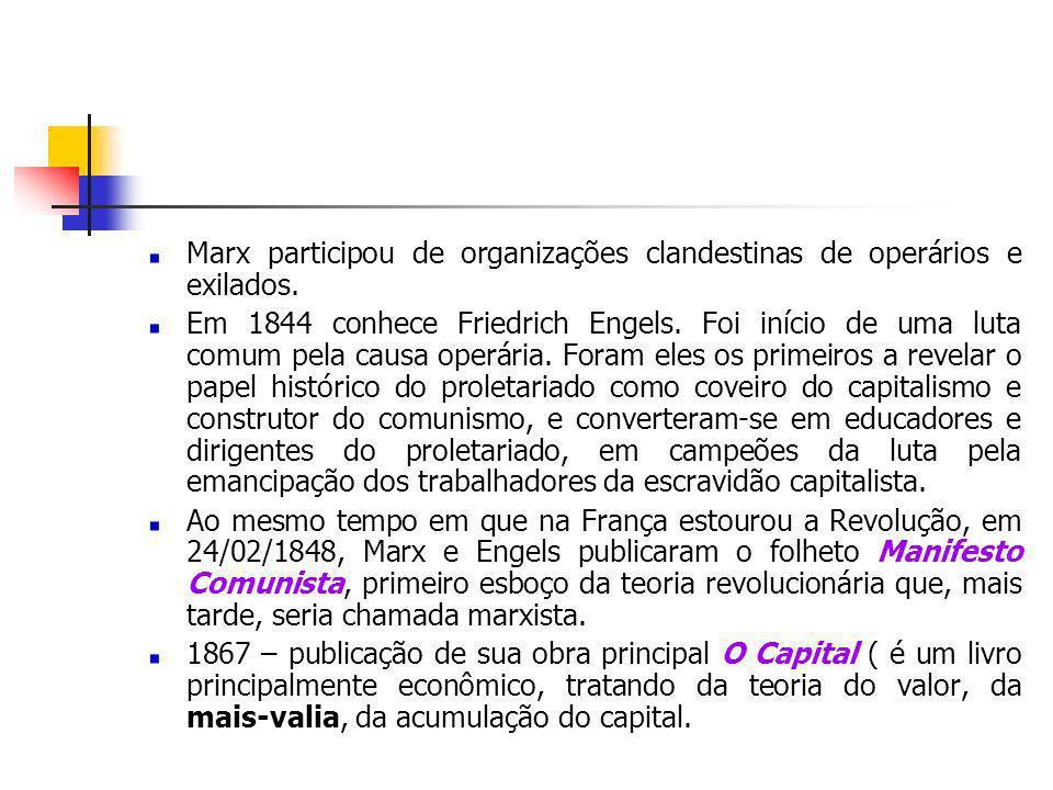 Marx participou de organizações clandestinas de operários e exilados.