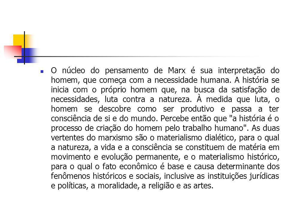 O núcleo do pensamento de Marx é sua interpretação do homem, que começa com a necessidade humana.