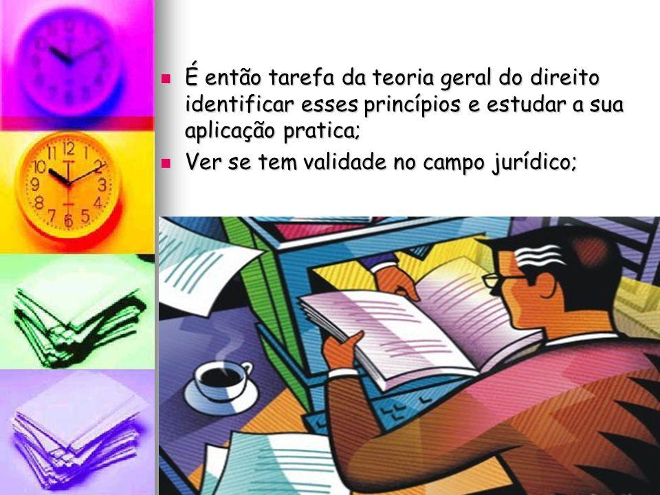 É então tarefa da teoria geral do direito identificar esses princípios e estudar a sua aplicação pratica;