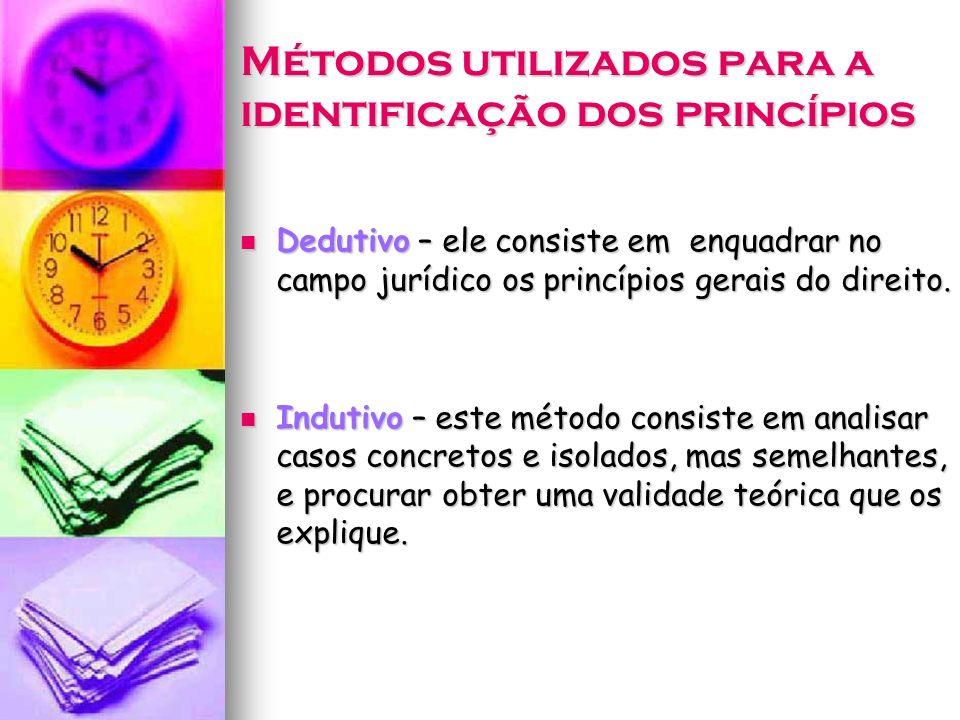 Métodos utilizados para a identificação dos princípios