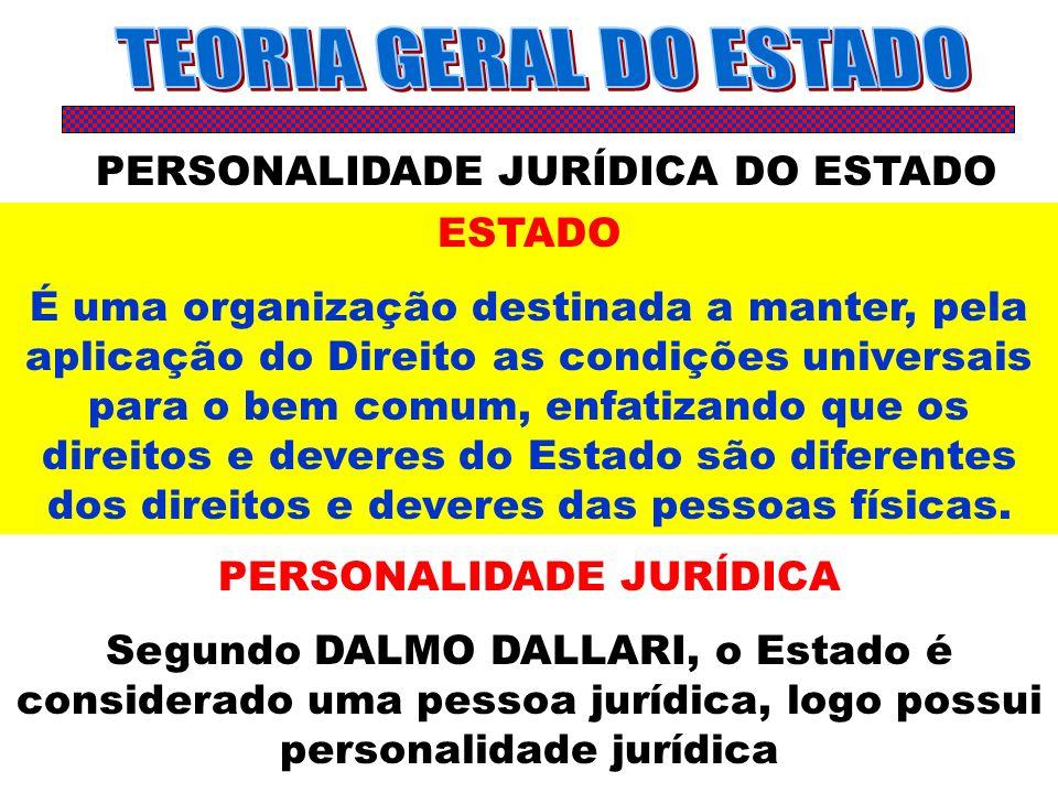 TEORIA GERAL DO ESTADO PERSONALIDADE JURÍDICA DO ESTADO ESTADO