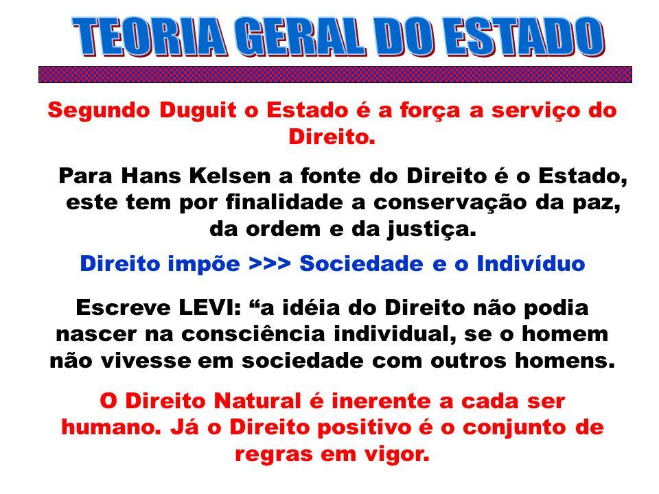 TEORIA GERAL DO ESTADO Segundo Duguit o Estado é a força a serviço do Direito.