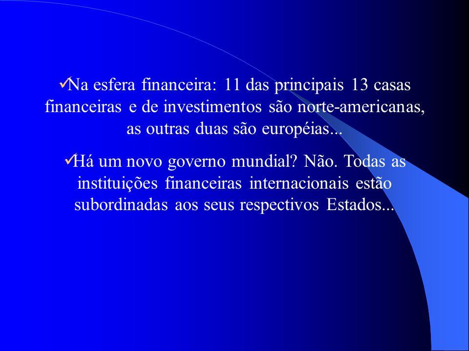 Na esfera financeira: 11 das principais 13 casas financeiras e de investimentos são norte-americanas, as outras duas são européias...