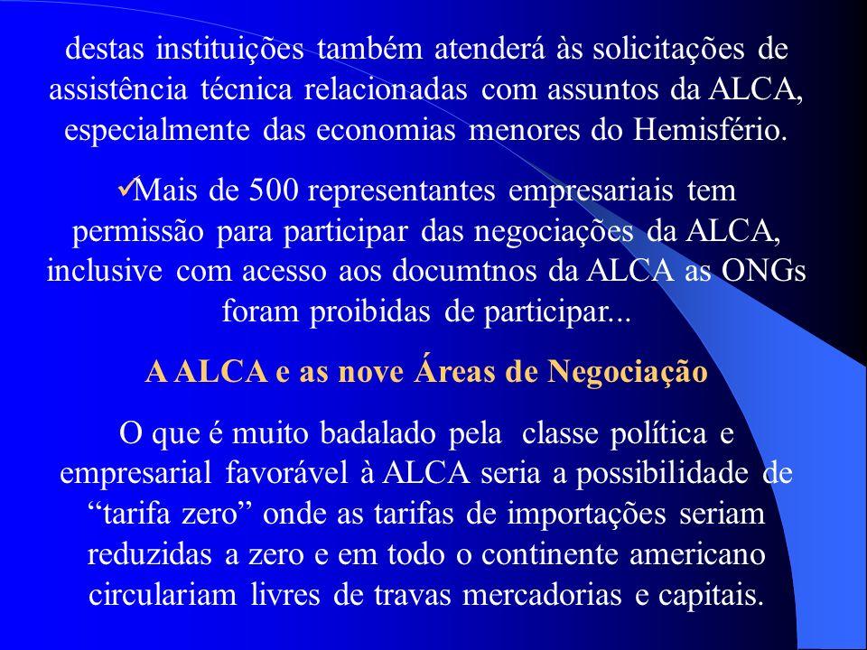A ALCA e as nove Áreas de Negociação