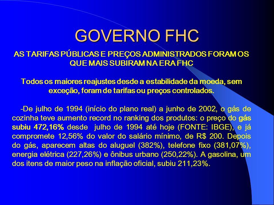 GOVERNO FHC AS TARIFAS PÚBLICAS E PREÇOS ADMINISTRADOS FORAM OS QUE MAIS SUBIRAM NA ERA FHC.