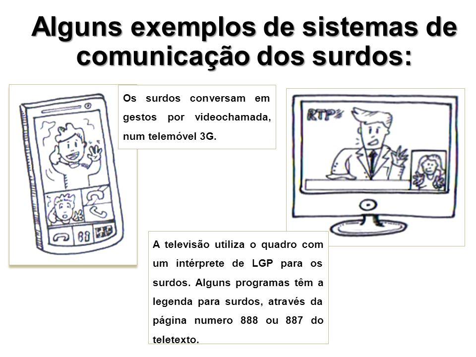 Alguns exemplos de sistemas de comunicação dos surdos: