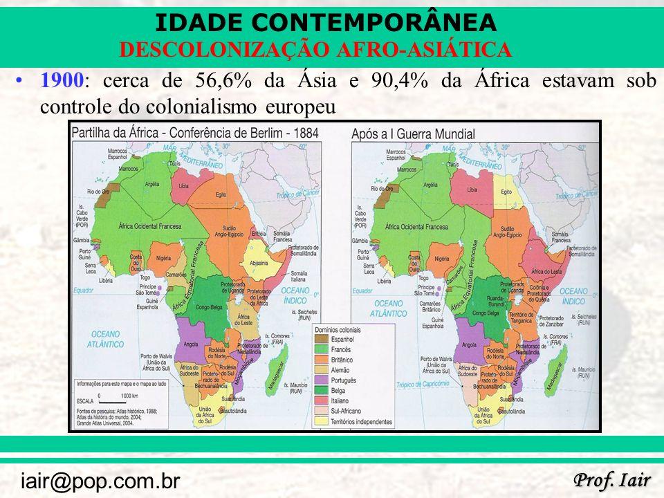 1900: cerca de 56,6% da Ásia e 90,4% da África estavam sob controle do colonialismo europeu