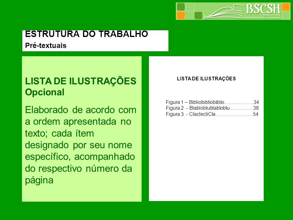 ESTRUTURA DO TRABALHO Pré-textuais. LISTA DE ILUSTRAÇÕES Opcional.