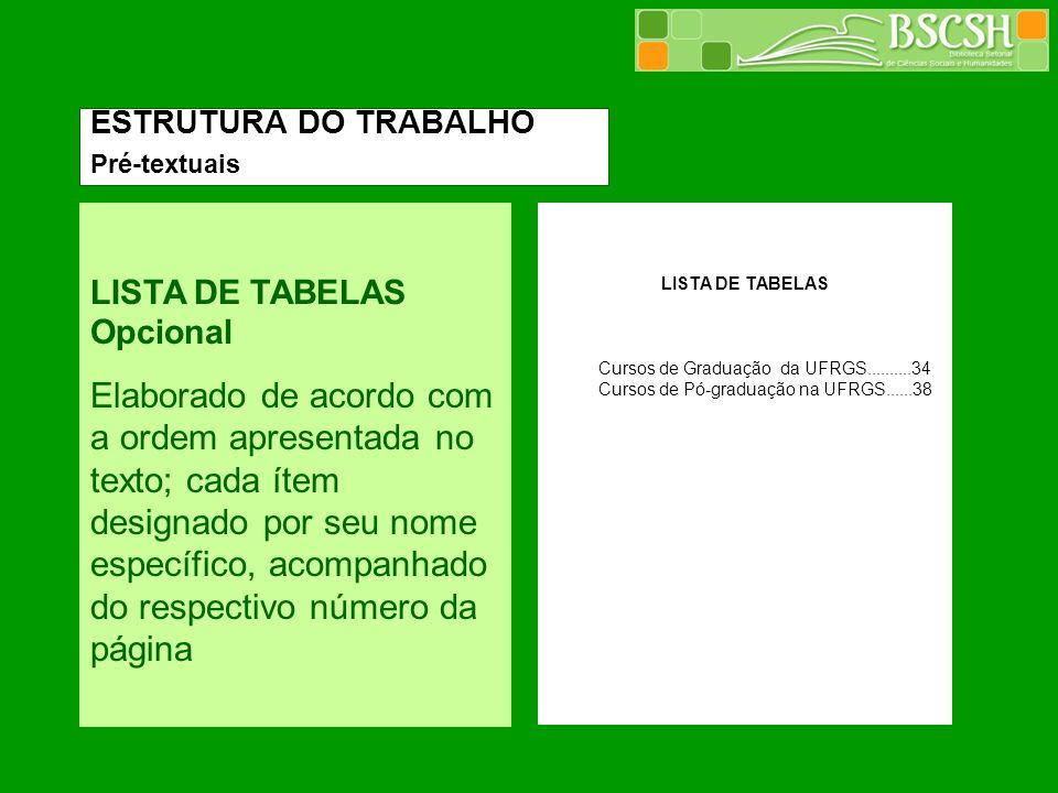 ESTRUTURA DO TRABALHO Pré-textuais. LISTA DE TABELAS Opcional.