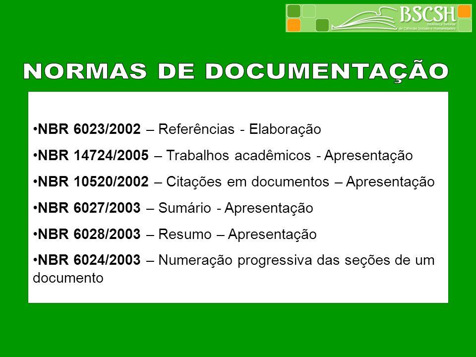 NORMAS DE DOCUMENTAÇÃO