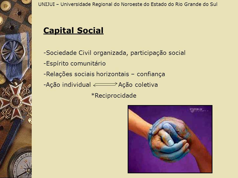 Capital Social -Sociedade Civil organizada, participação social