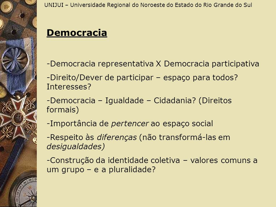 Democracia Democracia representativa X Democracia participativa