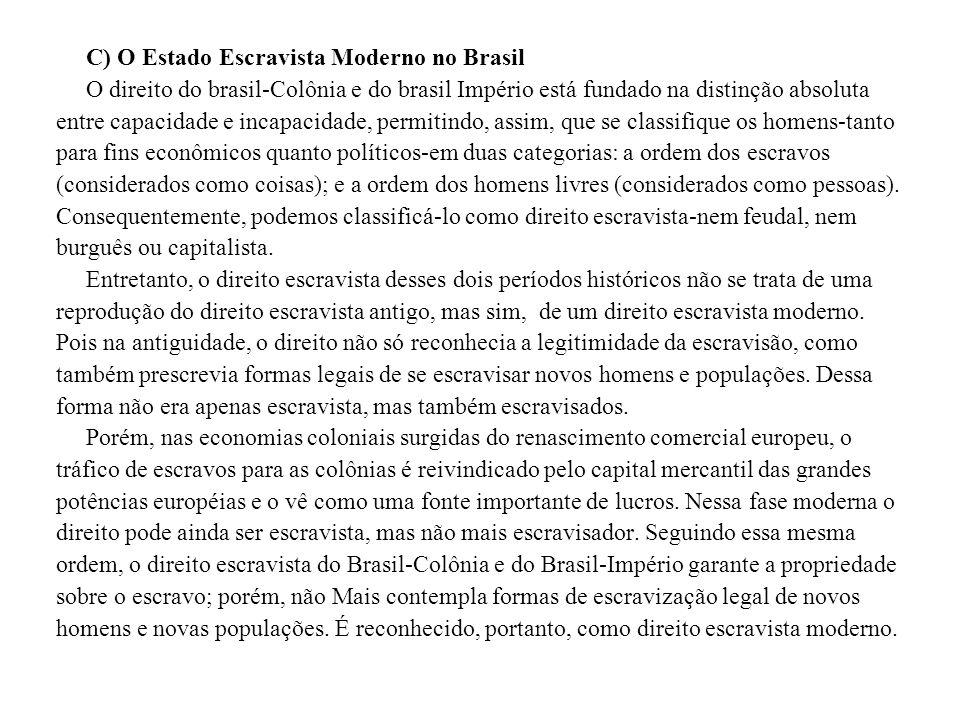 C) O Estado Escravista Moderno no Brasil
