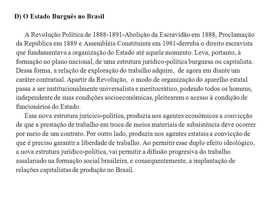 D) O Estado Burguês no Brasil