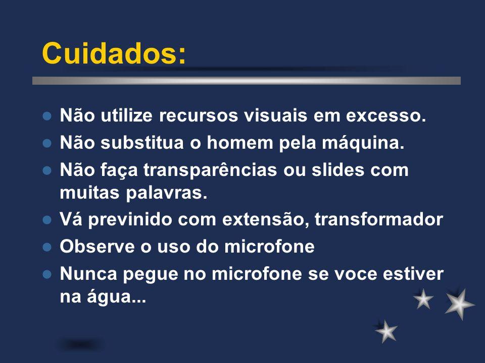 Cuidados: Não utilize recursos visuais em excesso.