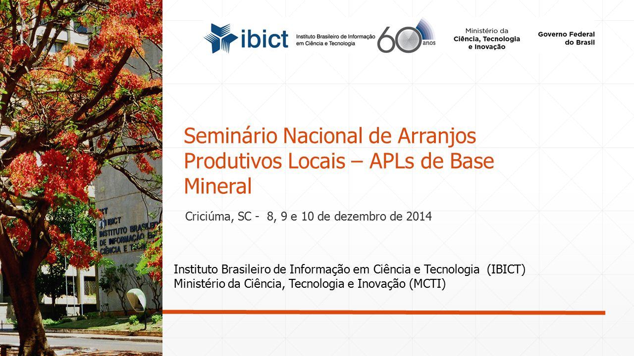 Seminário Nacional de Arranjos Produtivos Locais – APLs de Base Mineral