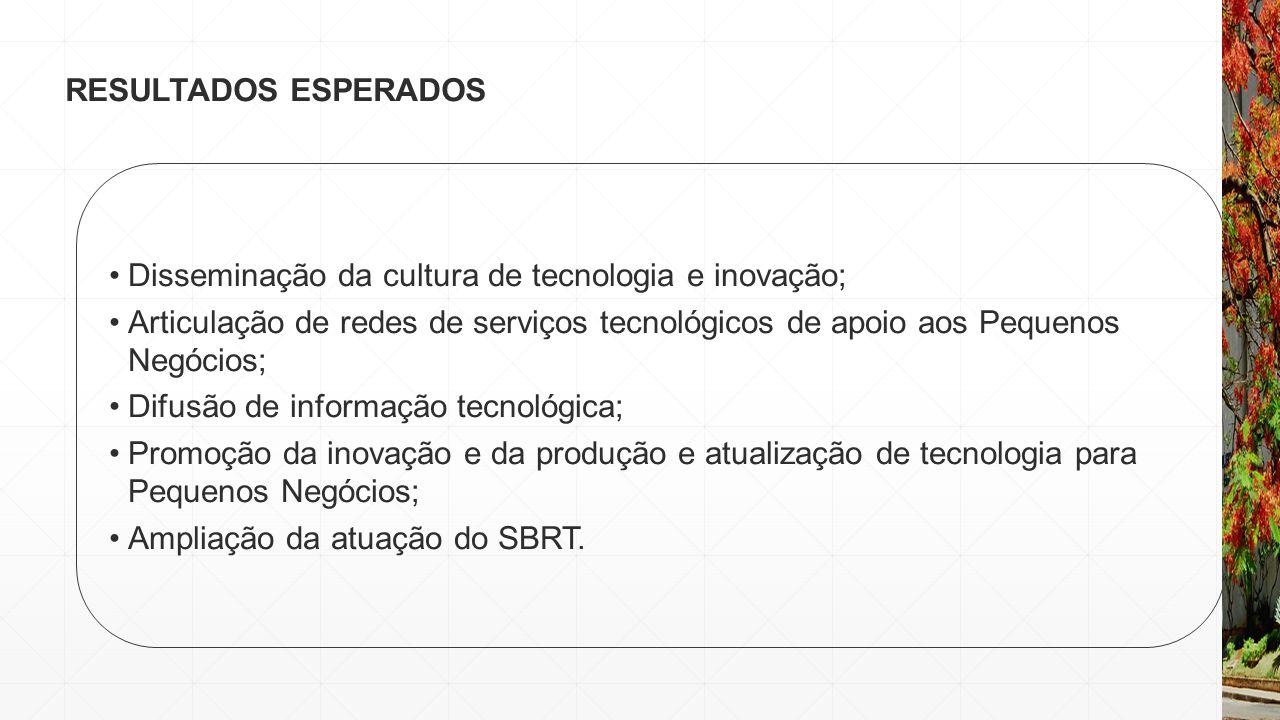RESULTADOS ESPERADOS Disseminação da cultura de tecnologia e inovação;