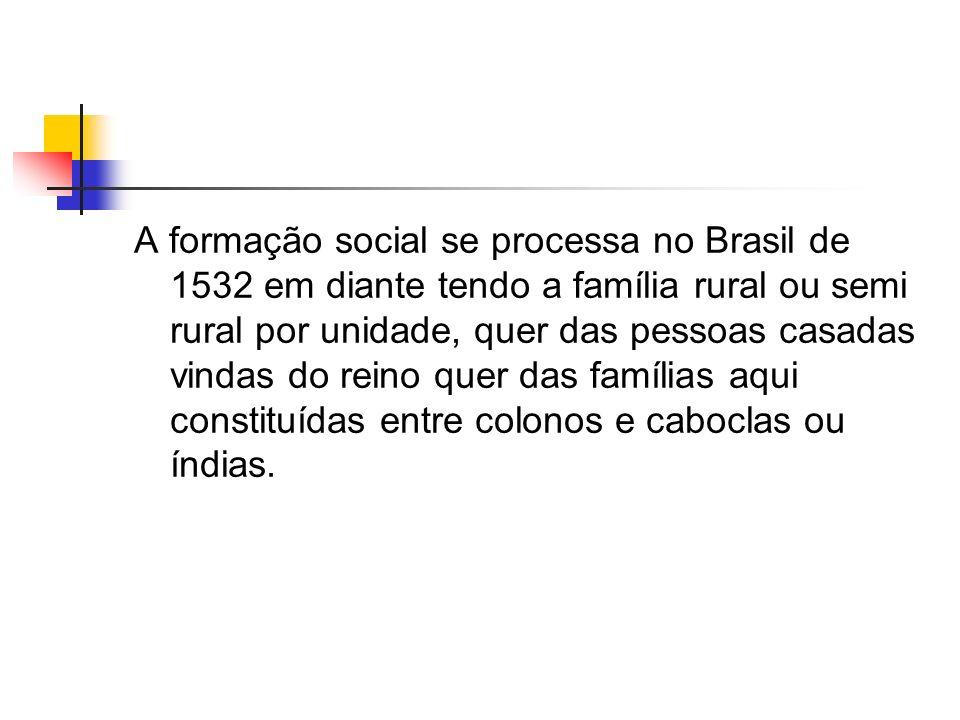 A formação social se processa no Brasil de 1532 em diante tendo a família rural ou semi rural por unidade, quer das pessoas casadas vindas do reino quer das famílias aqui constituídas entre colonos e caboclas ou índias.