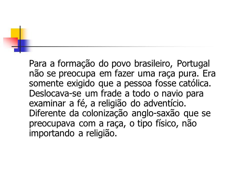 Para a formação do povo brasileiro, Portugal não se preocupa em fazer uma raça pura.
