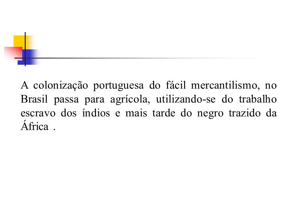 A colonização portuguesa do fácil mercantilismo, no Brasil passa para agrícola, utilizando-se do trabalho escravo dos índios e mais tarde do negro trazido da África .