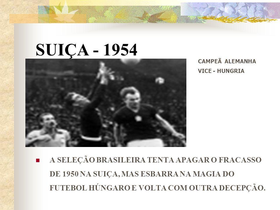 SUIÇA - 1954 CAMPEÃ ALEMANHA. VICE - HUNGRIA.