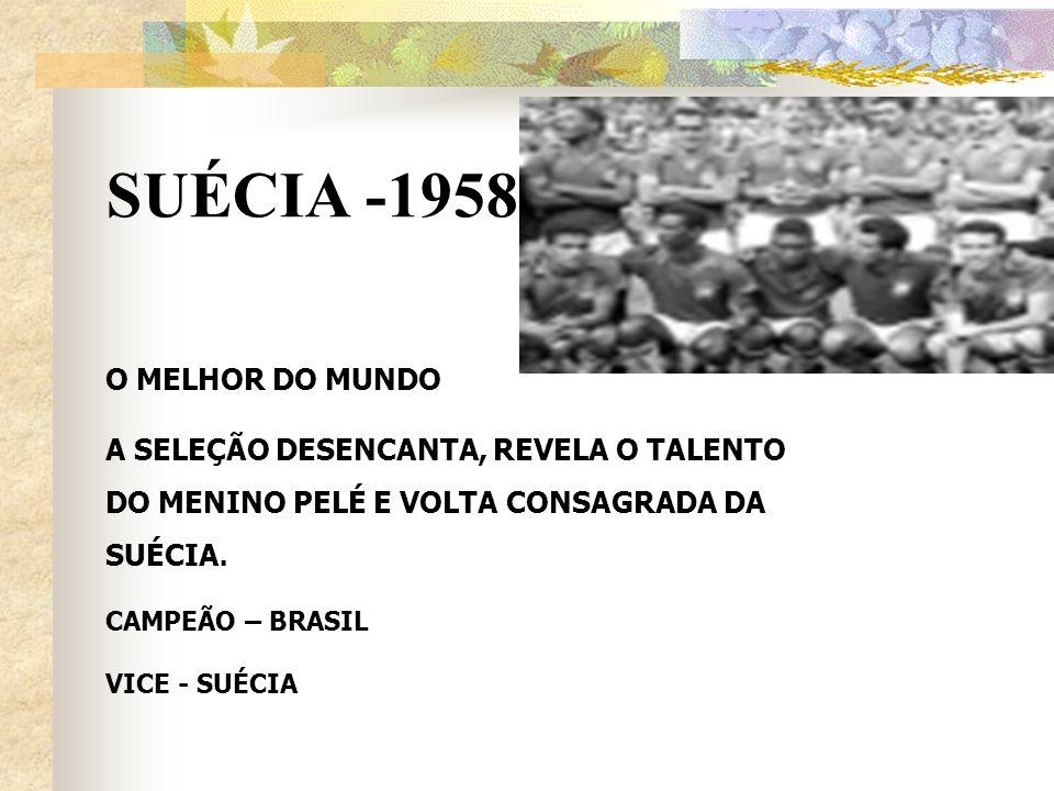 SUÉCIA -1958 O MELHOR DO MUNDO