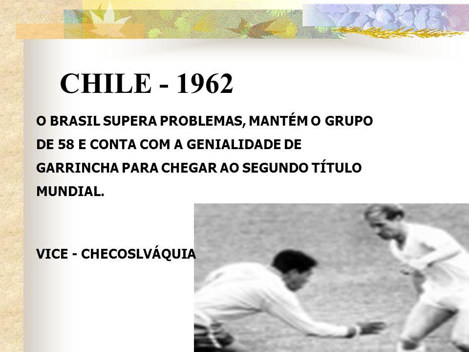 CHILE - 1962 O BRASIL SUPERA PROBLEMAS, MANTÉM O GRUPO DE 58 E CONTA COM A GENIALIDADE DE GARRINCHA PARA CHEGAR AO SEGUNDO TÍTULO MUNDIAL.