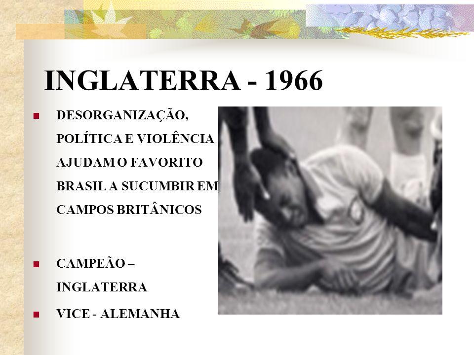 INGLATERRA - 1966 DESORGANIZAÇÃO, POLÍTICA E VIOLÊNCIA AJUDAM O FAVORITO BRASIL A SUCUMBIR EM CAMPOS BRITÂNICOS.