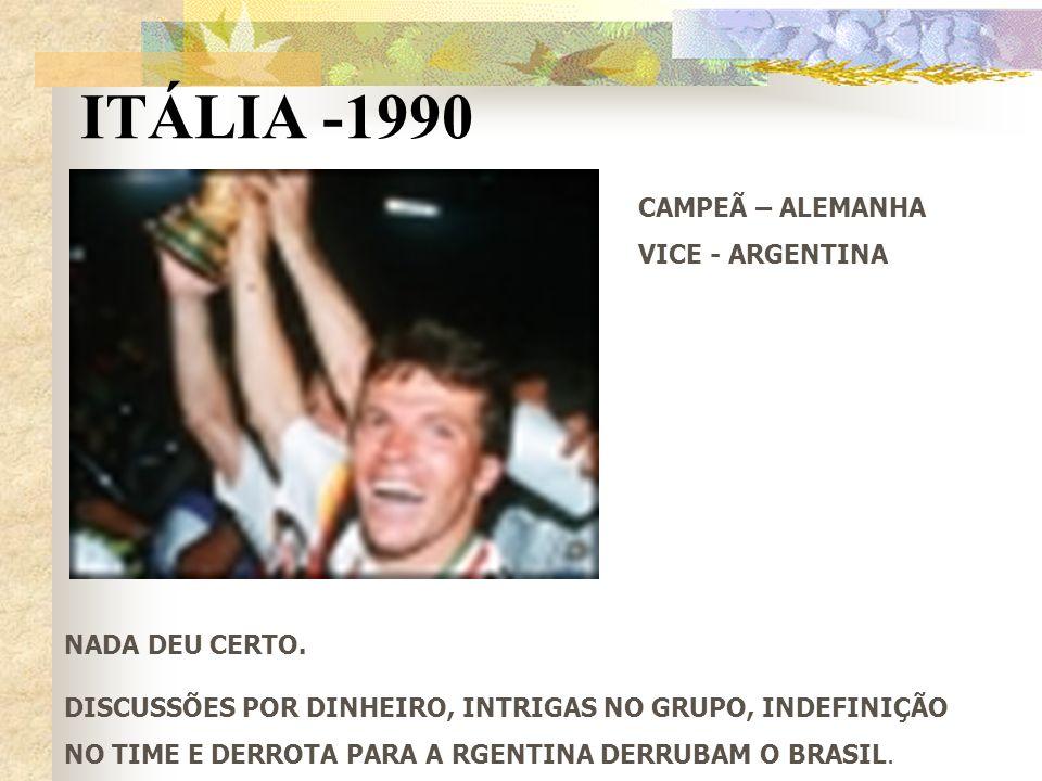 ITÁLIA -1990 CAMPEÃ – ALEMANHA VICE - ARGENTINA NADA DEU CERTO.