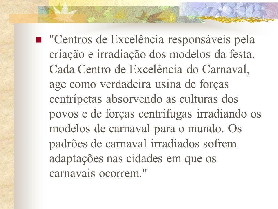 Centros de Excelência responsáveis pela criação e irradiação dos modelos da festa.