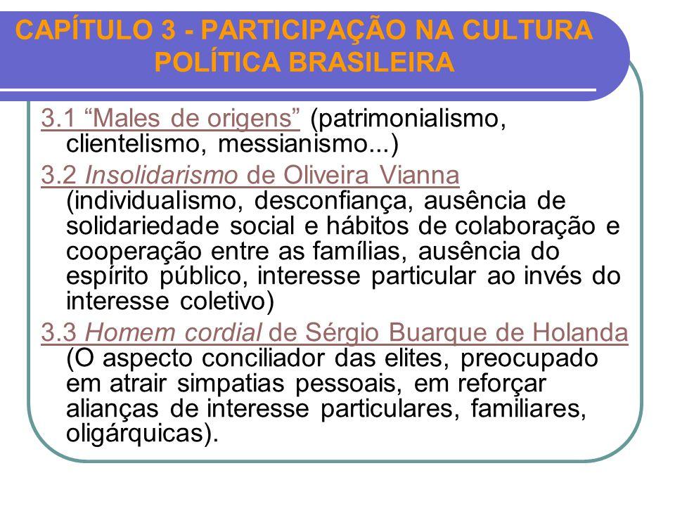 CAPÍTULO 3 - PARTICIPAÇÃO NA CULTURA POLÍTICA BRASILEIRA