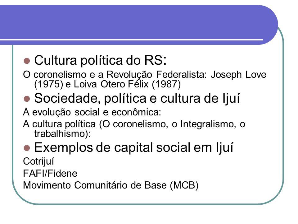 Cultura política do RS: Sociedade, política e cultura de Ijuí