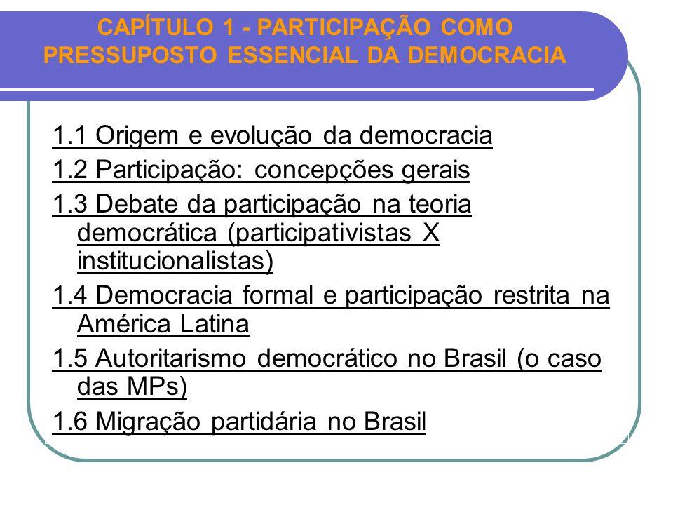 CAPÍTULO 1 - PARTICIPAÇÃO COMO PRESSUPOSTO ESSENCIAL DA DEMOCRACIA