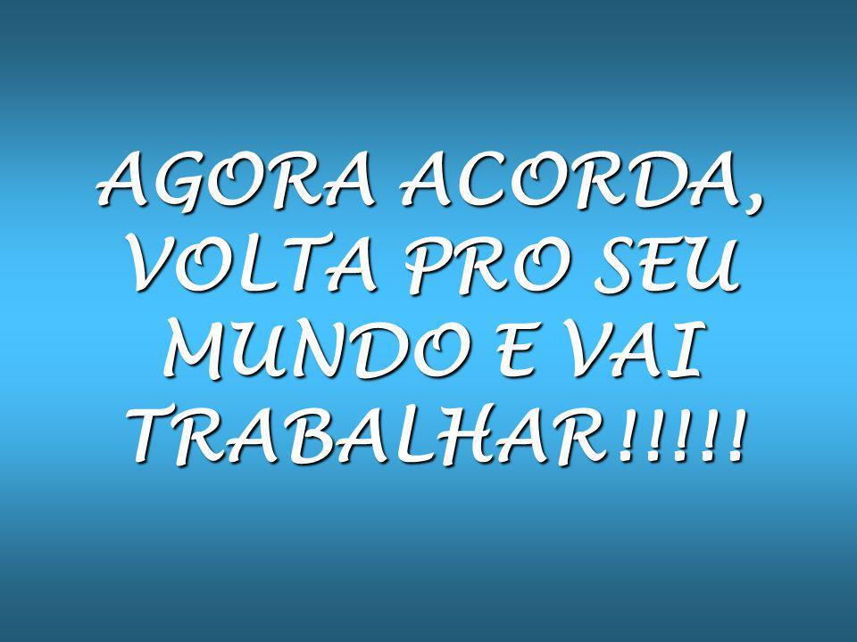 AGORA ACORDA, VOLTA PRO SEU MUNDO E VAI TRABALHAR!!!!!