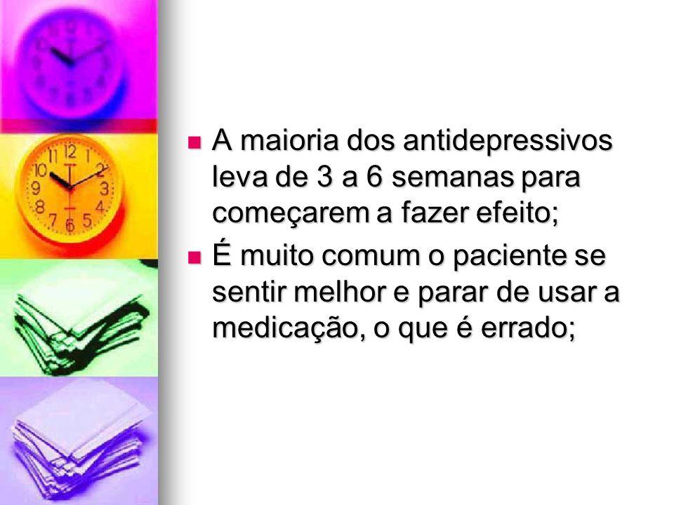 A maioria dos antidepressivos leva de 3 a 6 semanas para começarem a fazer efeito;