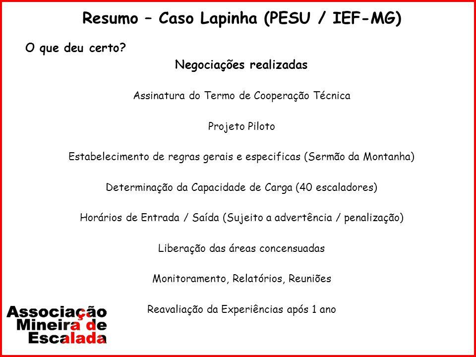 Resumo – Caso Lapinha (PESU / IEF-MG) Negociações realizadas