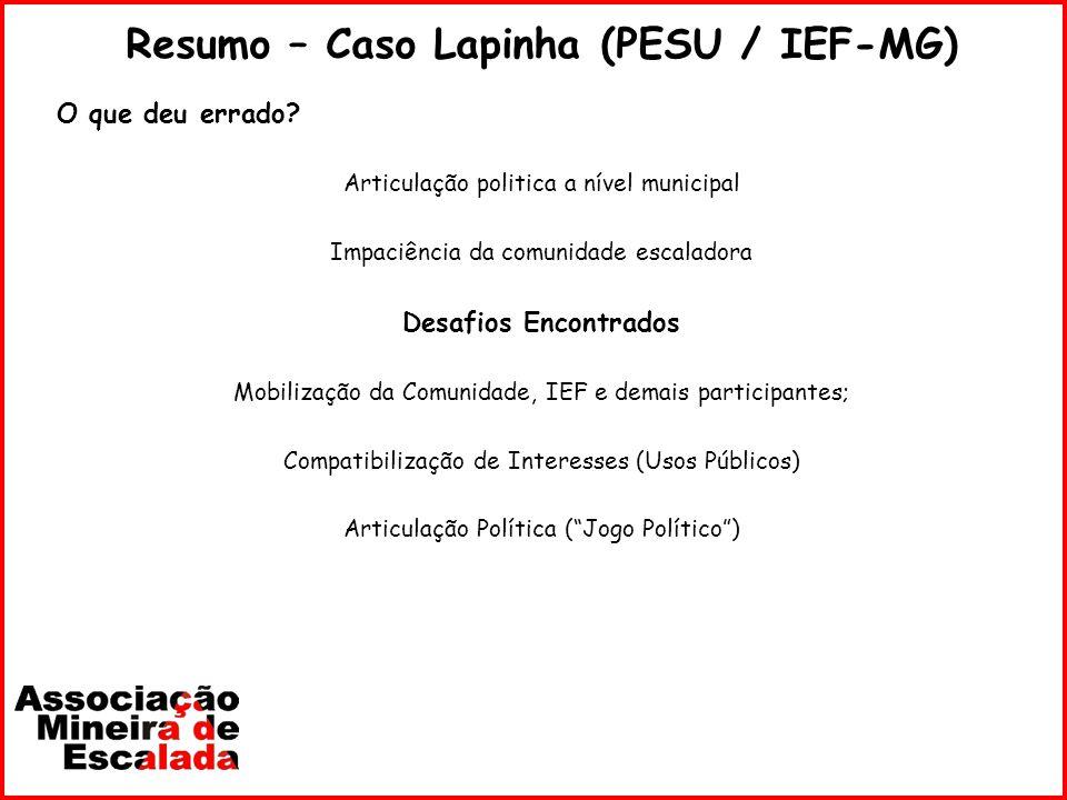 Resumo – Caso Lapinha (PESU / IEF-MG)