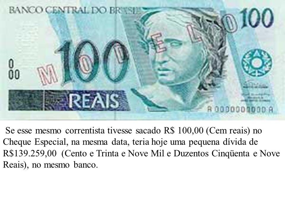 Se esse mesmo correntista tivesse sacado R$ 100,00 (Cem reais) no