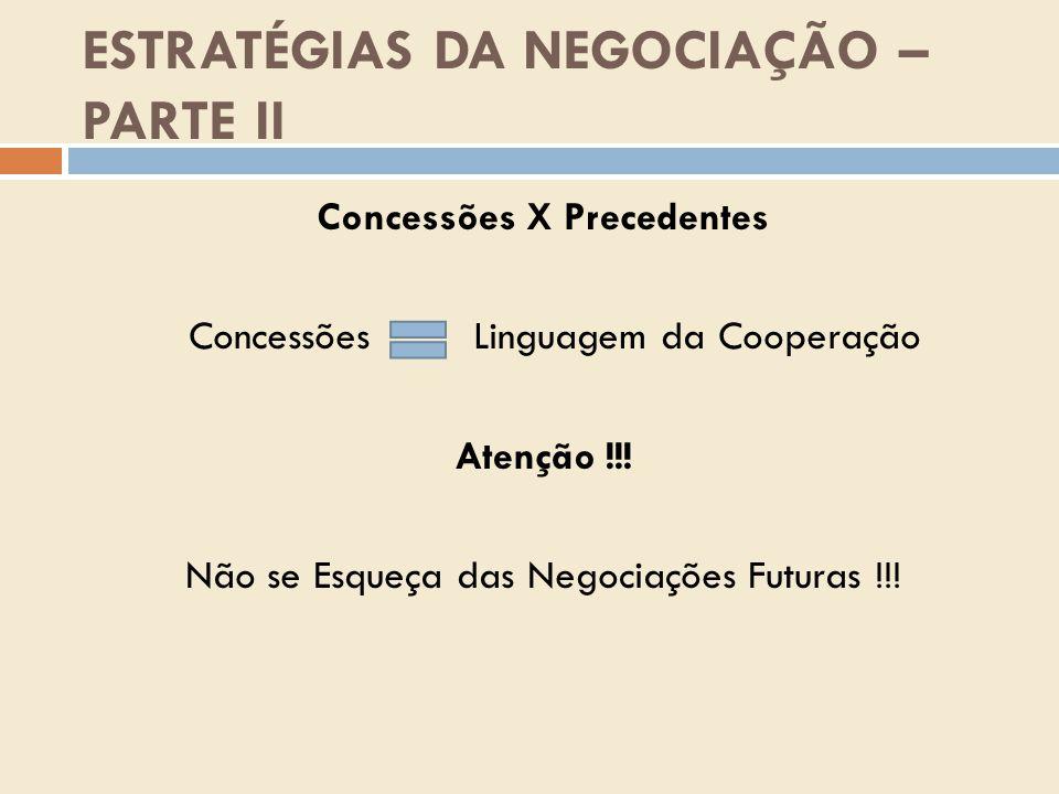 ESTRATÉGIAS DA NEGOCIAÇÃO – PARTE II