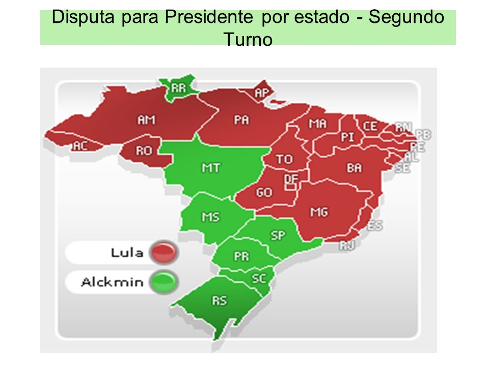 Disputa para Presidente por estado - Segundo Turno