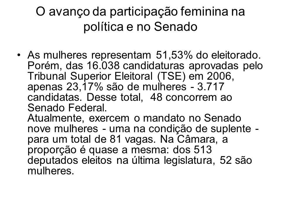 O avanço da participação feminina na política e no Senado