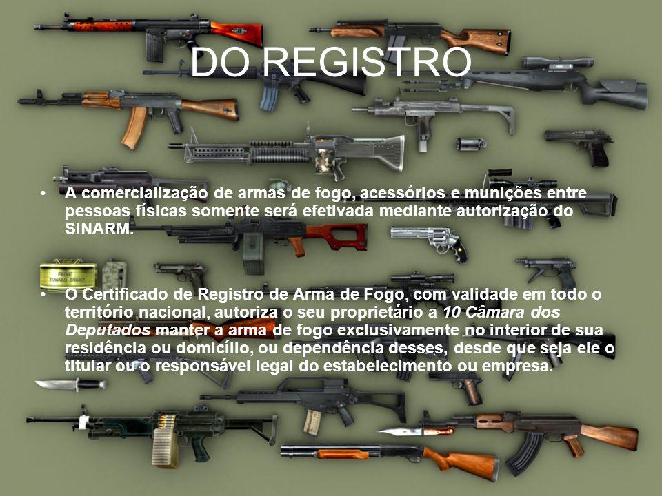 DO REGISTROA comercialização de armas de fogo, acessórios e munições entre pessoas físicas somente será efetivada mediante autorização do SINARM.