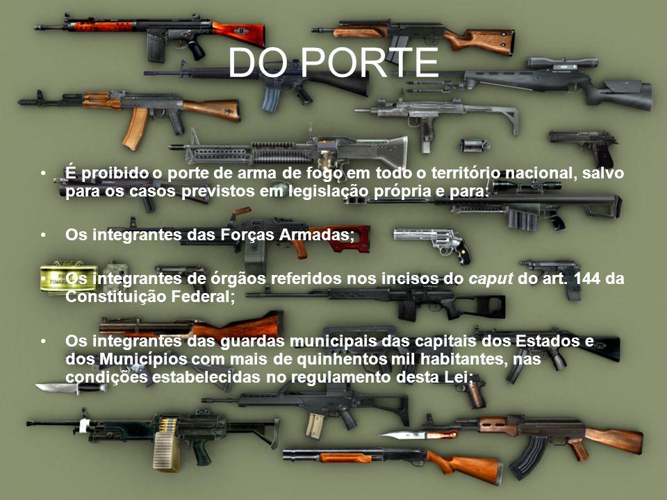 DO PORTEÉ proibido o porte de arma de fogo em todo o território nacional, salvo para os casos previstos em legislação própria e para: